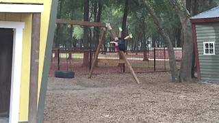 A Young Boy Fails To Jump Off A Swing - Video