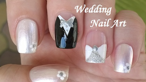 Wedding nails - Bride & groom nail designs