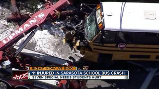 7 students, 4 adults injured in Sarasota school bus crash