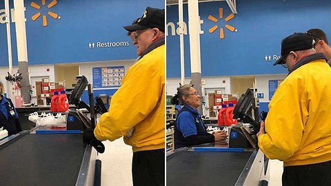 Young Man Pays For A Veteran's Items At Walmart