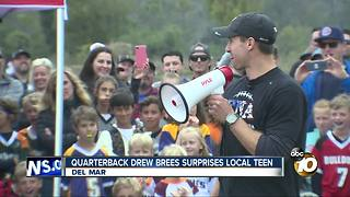 Quarterback Drew Brees surprises local teen