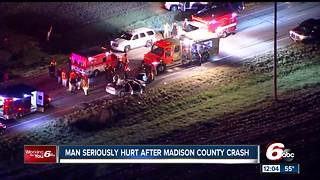 Man hospitalized after crash in Madison County - Video