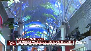 Fremont Street reacts after mass shooting