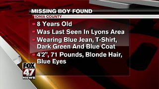Officials say the missing boy has been located and is safe.