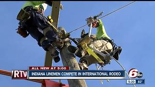 Indiana lineman compete in international rodeo - Video