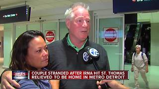 Metro Detroit couple stranded on St. Thomas by Hurricane Irma arrives home - Video