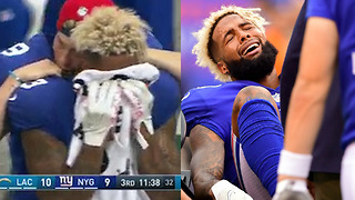 WATCH: Odell Beckham Jr Cries Into Towel, Fractures His Ankle in Game Against Chargers - Video