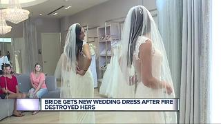Bride gets new wedding dress after fire destroys her's