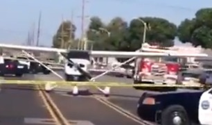 Traffic Blocked After Small Plane Lands Safely on Huntington Beach Road - Video