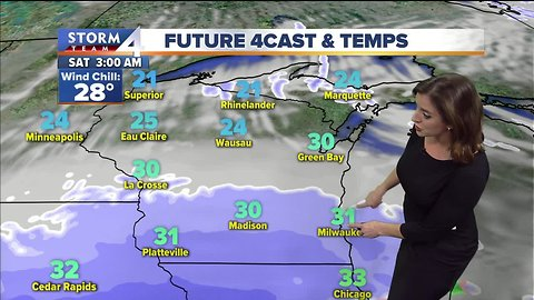Morning snow, partly cloudy Saturday