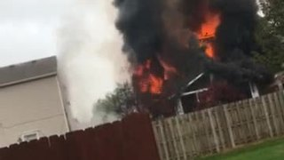 Viewer video: House explodes, catches fire in Camby, Indiana - Video