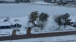 Snow Carpets the Ground in Rural Texas - Video