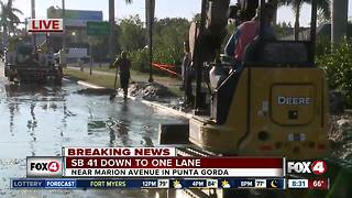 U.S. 41 Bridge heading into Punta Gorda backed up due to water in the road - Video