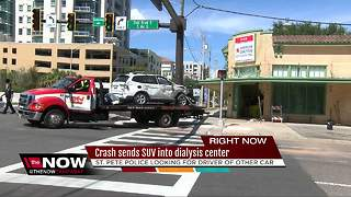 Crash sends car into dialysis center in St. Pete - Video
