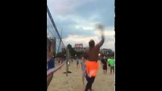 Cam Newton Blocked By a Girl When Playing Beach Volleyball - Video