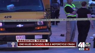 1 dead after motorcycle, school bus collide - Video
