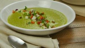 Chilled Zucchini and Avocado Soup with Cucumber Salsa - Video