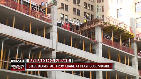 Steel beam falls from crane at Playhouse Square