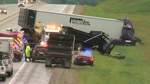 Accident involving semi-truck, dump truck closes Muskogee Turnpike