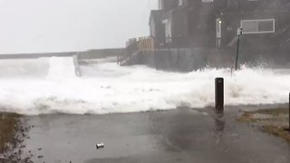 Storm Surge Floods Into Massachusetts Coastal Town During Nor'easter - Video