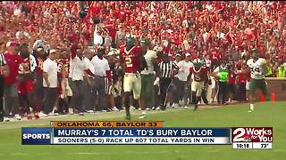 Kyler Murray's 7 TD's lead Oklahoma's 66-33 rout of Baylor