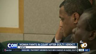 Woman faints after guilty verdict - Video