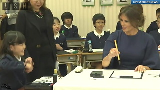 Melania Trump and First Lady Abe Use a Calligraphy Lesson to Embrace the Two Country's Relationship - Video
