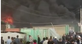 Power Lines Cause Ferocious Fire In one of Tajikistan's Largest Markets - Video