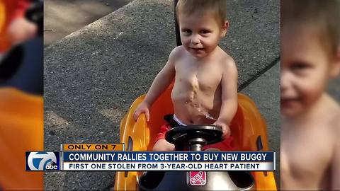 Warren mother thankful community helped replace son's stolen push buggy