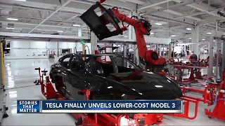 Tesla unveils lower-cost Model 3 - Video