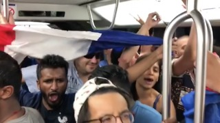 French Fans Sing on Packed Paris Metro Following World Cup Win - Video