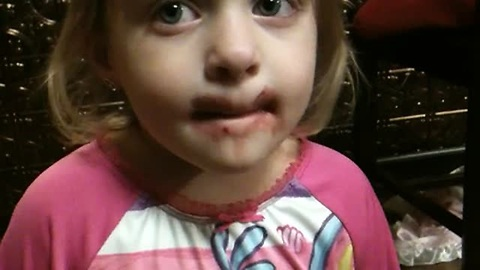 Guilty Toddler Denies Putting On Mom's Makeup