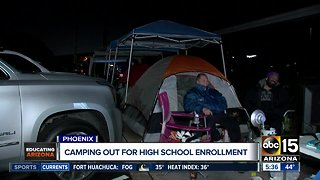 Parents camp out for enrollment at Valley high school