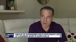 Group of strangers save man's life at barber shop in Northville - Video