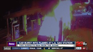 Car bursts into flames at L.A. gas station, two suspects ran from the scene