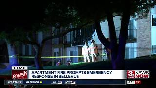 Fire leaves dozens displaced at Bellevue apartment complex.
