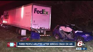 Three airlifted after serious crash on I-65 - Video