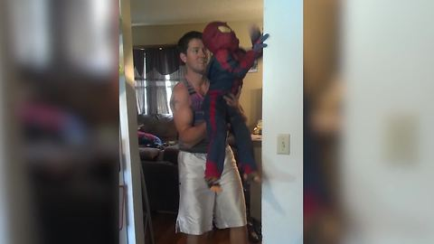 Little Boy Pretends That He's Spiderman