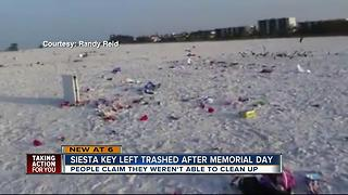 Siesta Key Beach trashed over Memorial Day - Video