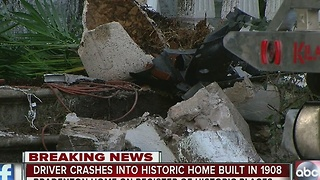 Driver crashes into historic home built in 1908 - Video