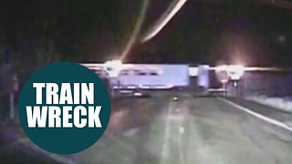 High speed police chase leads to shocking near miss with moving train