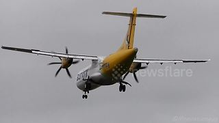 Twin Propeller Aircraft Struggle In Heavy Crosswinds At Airport - Video