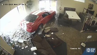 WATCH: Driver crashes Mustang through downtown Haines City store
