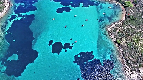Drone footage captures famous 'Blue Lagoon' of Halkidiki in Greece