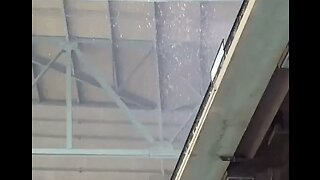 Rain Pours Through Stadium Roof During Houston Astros Game