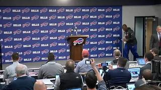 Interim head coach for the Buffalo Bills, Anthony Lynn, speaks to reporters