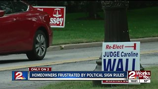 Homeowners frustrated by political sign rules