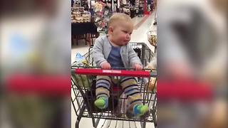 """Baby Dances In Grocery Cart"""