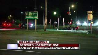Two killed in four-car crash in Detroit; one car involved in police chase - Video