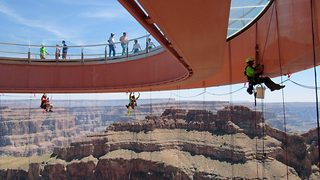 Don't look down! – Grand Canyon Skywalk cleaners experience breathtaking views like no other